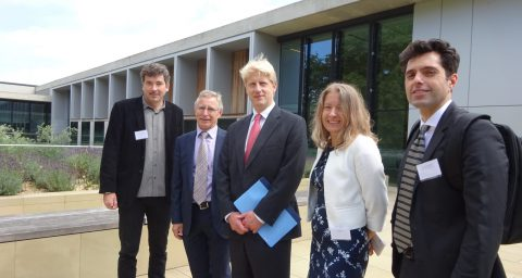Jo Johnson, Minister for Universities and Science, Andrew Thompson, RCUK Global Challenges Research Fund Champion and Dr Amanda Collis, BBSRC Executive Director, Science
