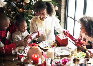 African descent family celebrating christmas holiday together