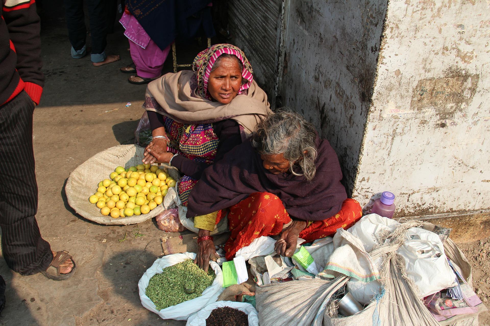 Women shop assistant in a market