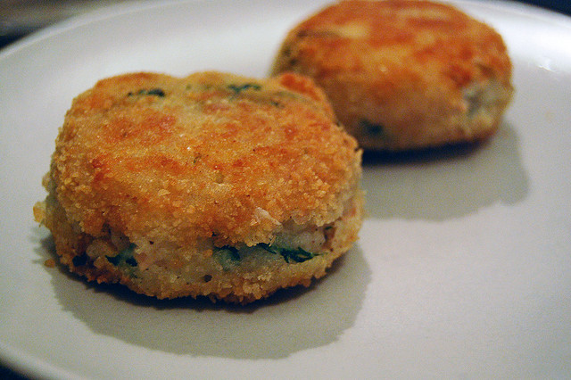 Fish cakes made from leftover food