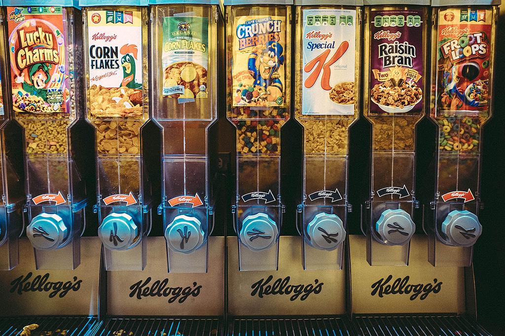 Several cereal dispensing machines