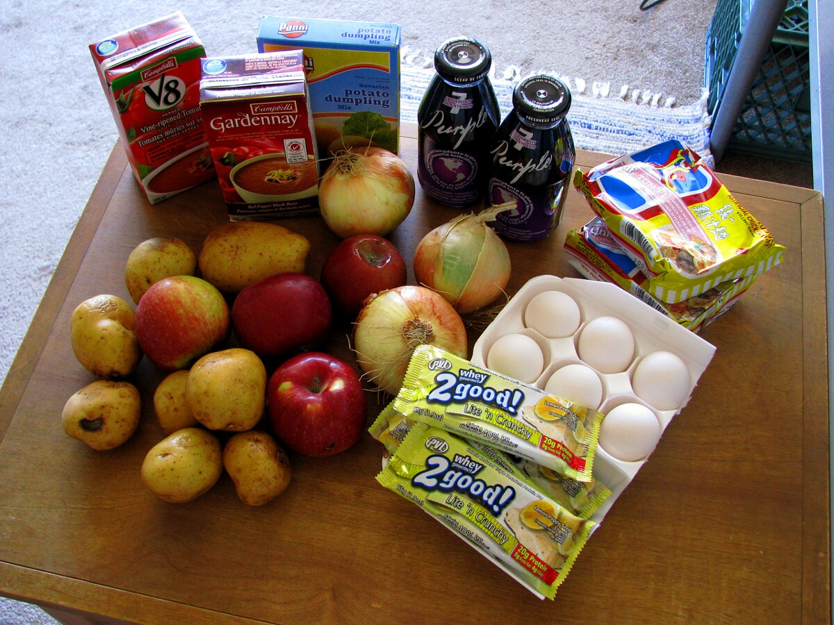 Various food items included in a foodbank in Canada