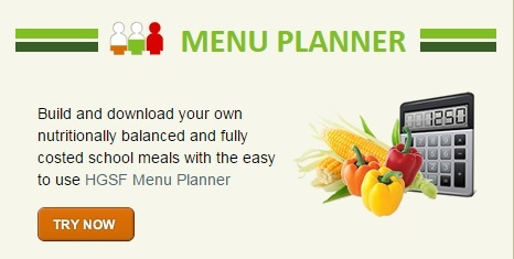 Screenshot of an online school meals planner
