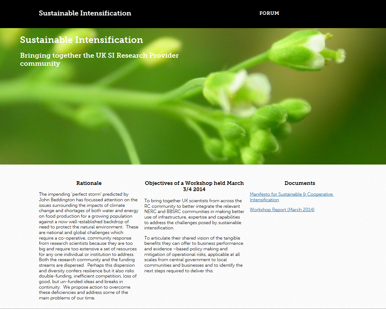 Screenshot of the Sustainable Intensification website