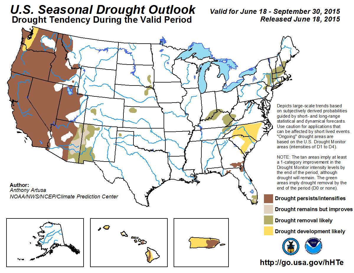 Chart showing the seasonal drought outlook for the USA