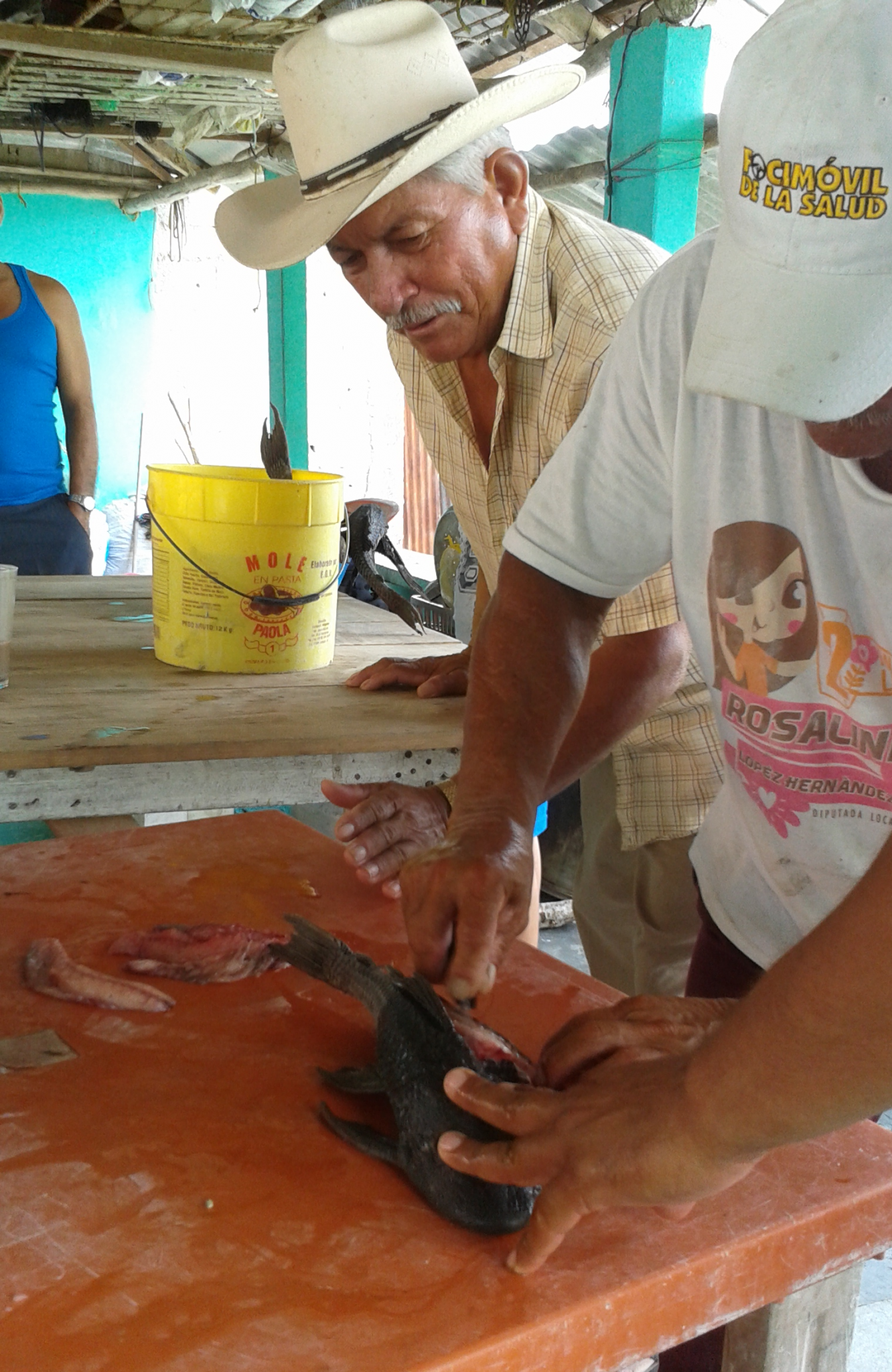 Workshop on history and use of plecostomus in El Espino, Tabasco, Mexico