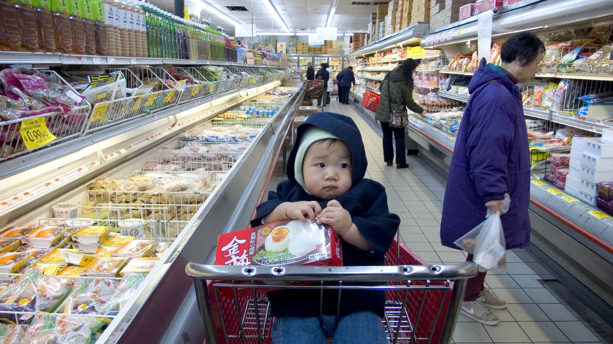 Baby in supermarket trolley