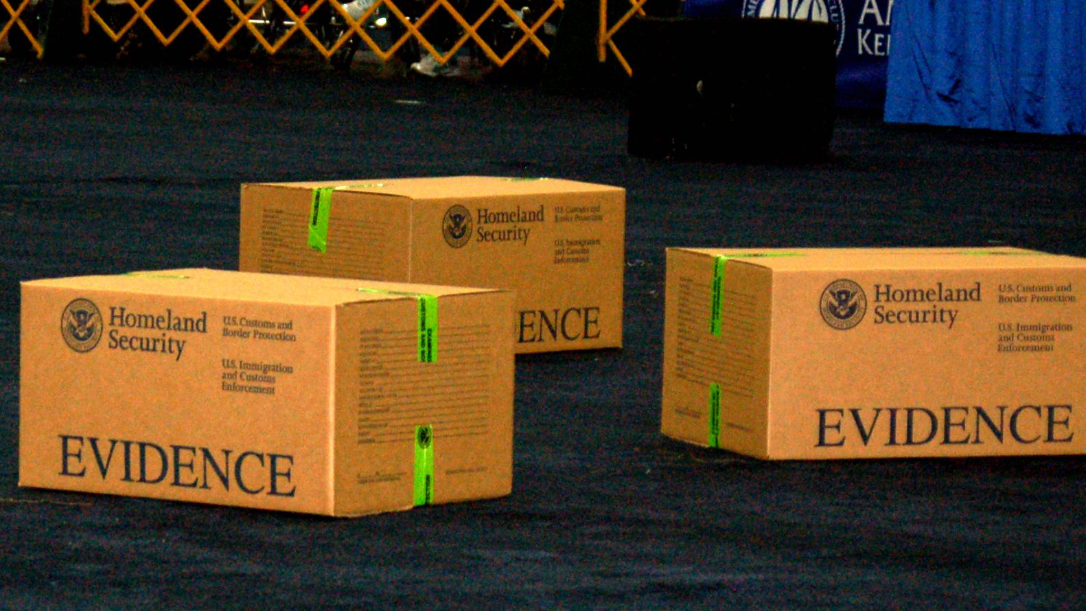 Homeland Security boxes of evidence