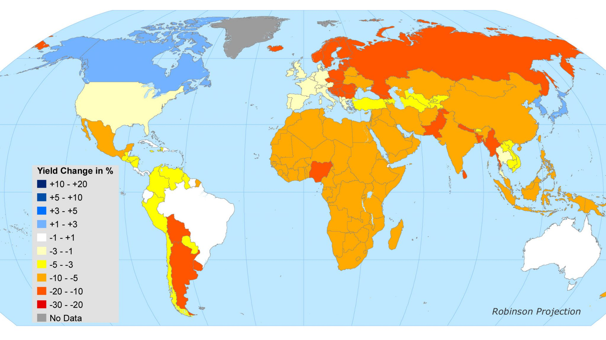 Global map indicating yield change in %