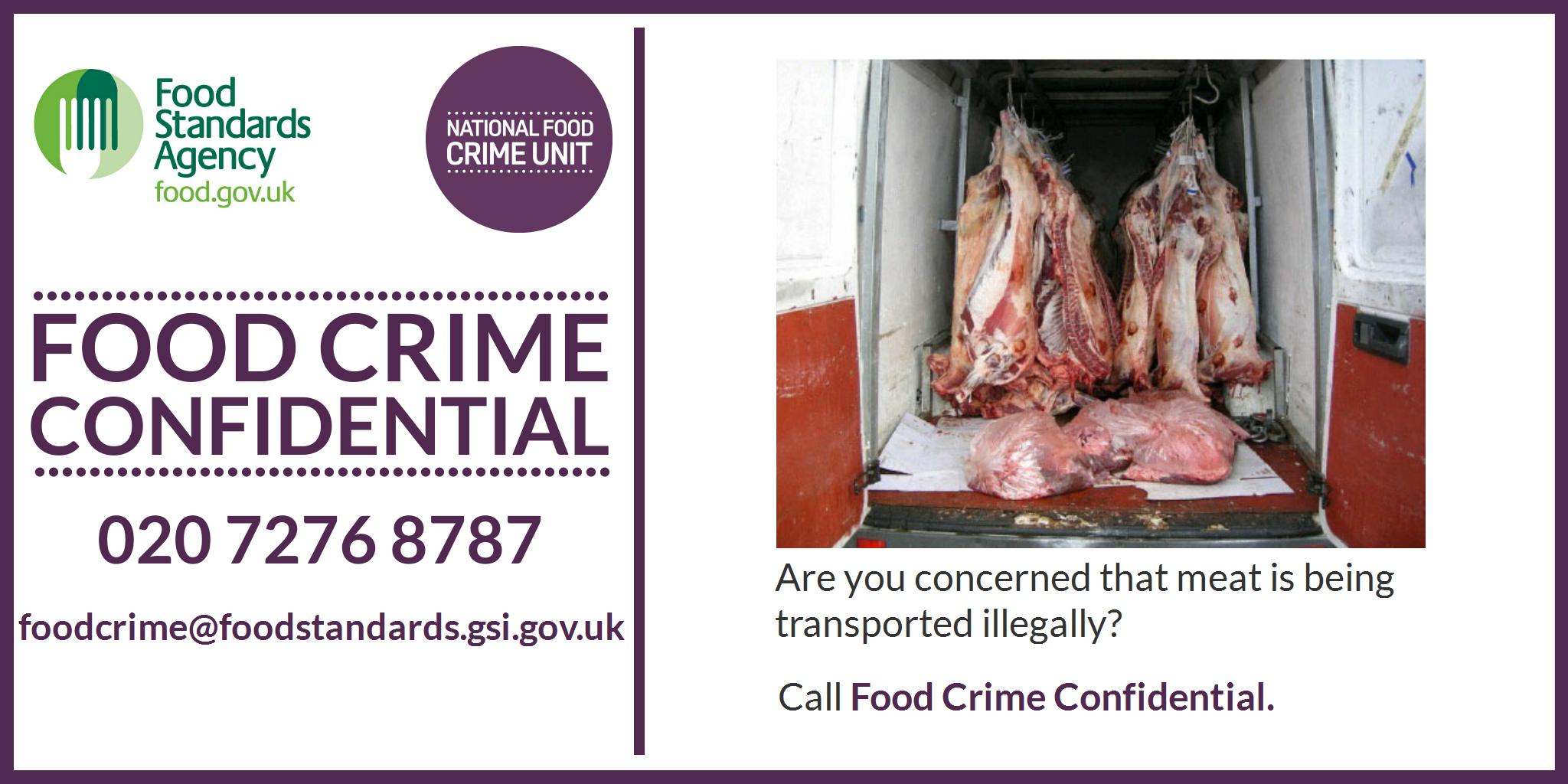 Food Standards Agency Food Crime Confidential campaign