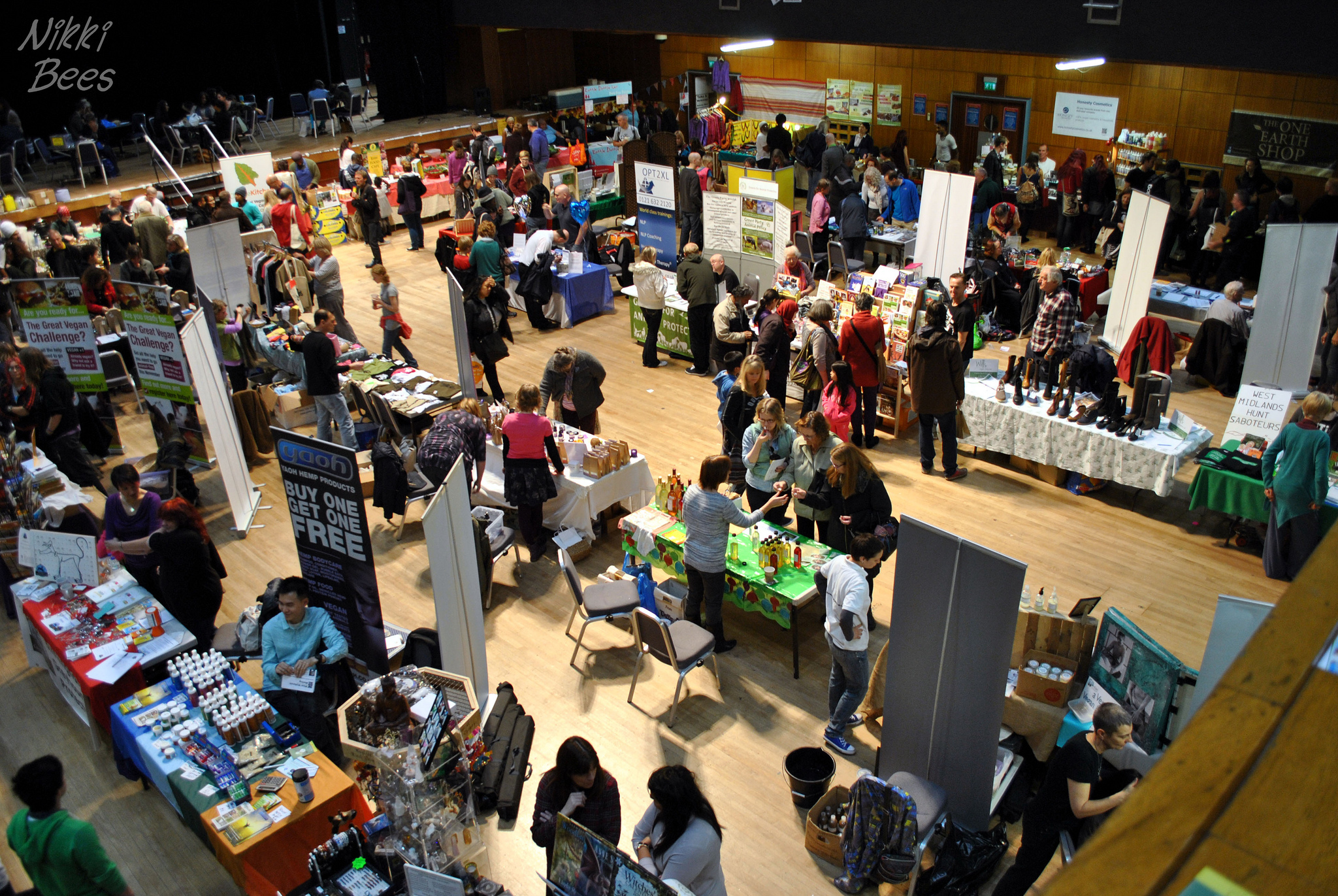 A vegan exhibition with various exhibit stands