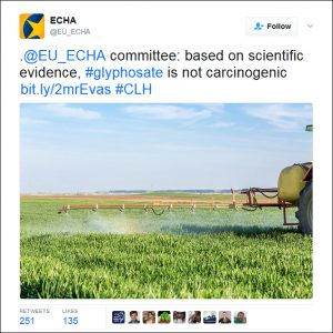 ECHA tweet about glyphosate as a carcinogen