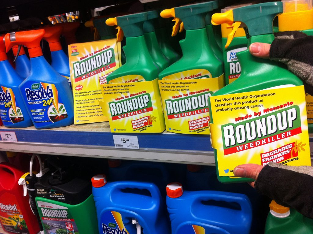 Bottles of Roundup and Resolva weedkiller