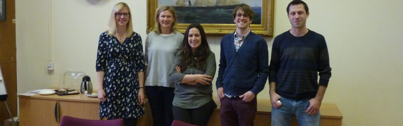 From left to right: Dr Ruth Wade (The University of Sheffield), Dr Alison Scott-Brown (Kew Gardens), Dr Sofia Cota-Franco (Newcastle University), Dr Rory O'Connor (University of Reading), and Dr Ben Keane (University of York)