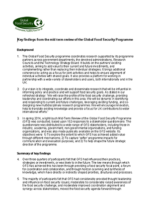 Key findings mid-term review of the GFS programme