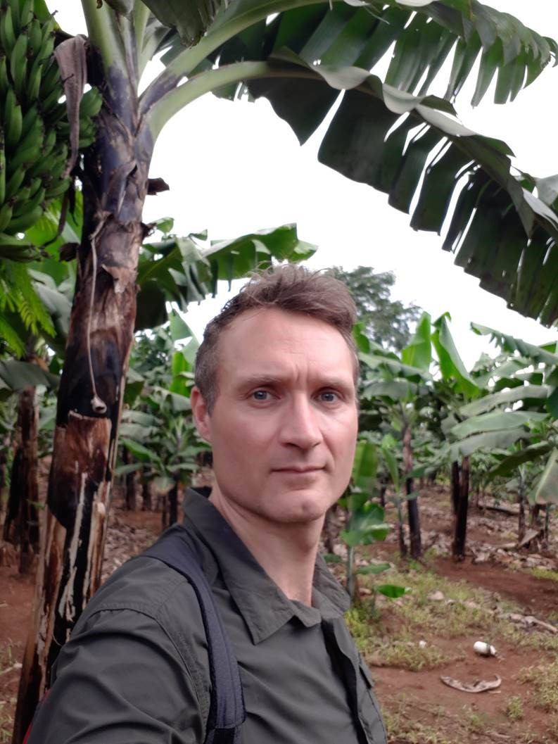 Dr Dan Bebber at a banana plantation in Uganda