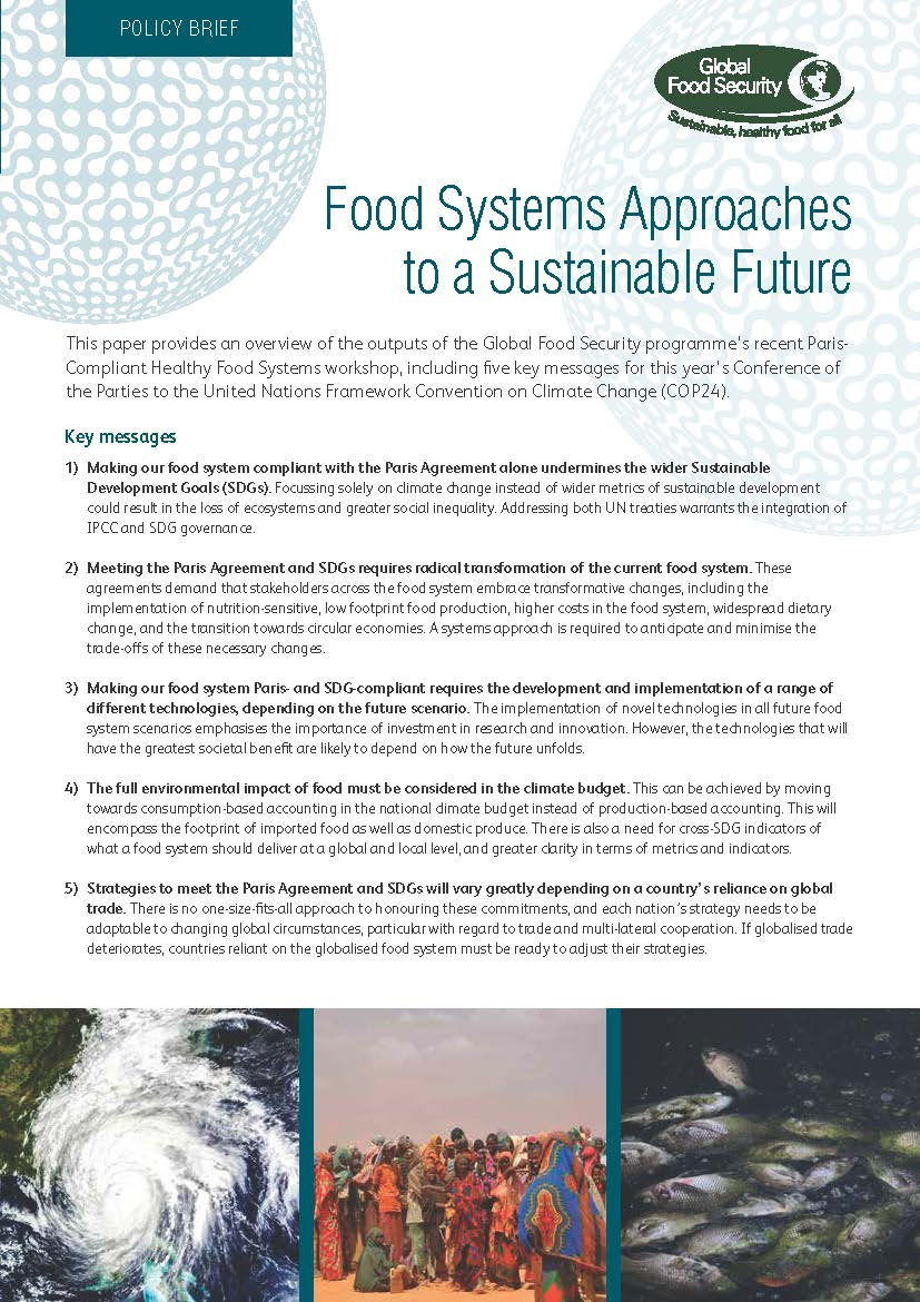 Cover image for 'Food systems approaches to a sustainable future'